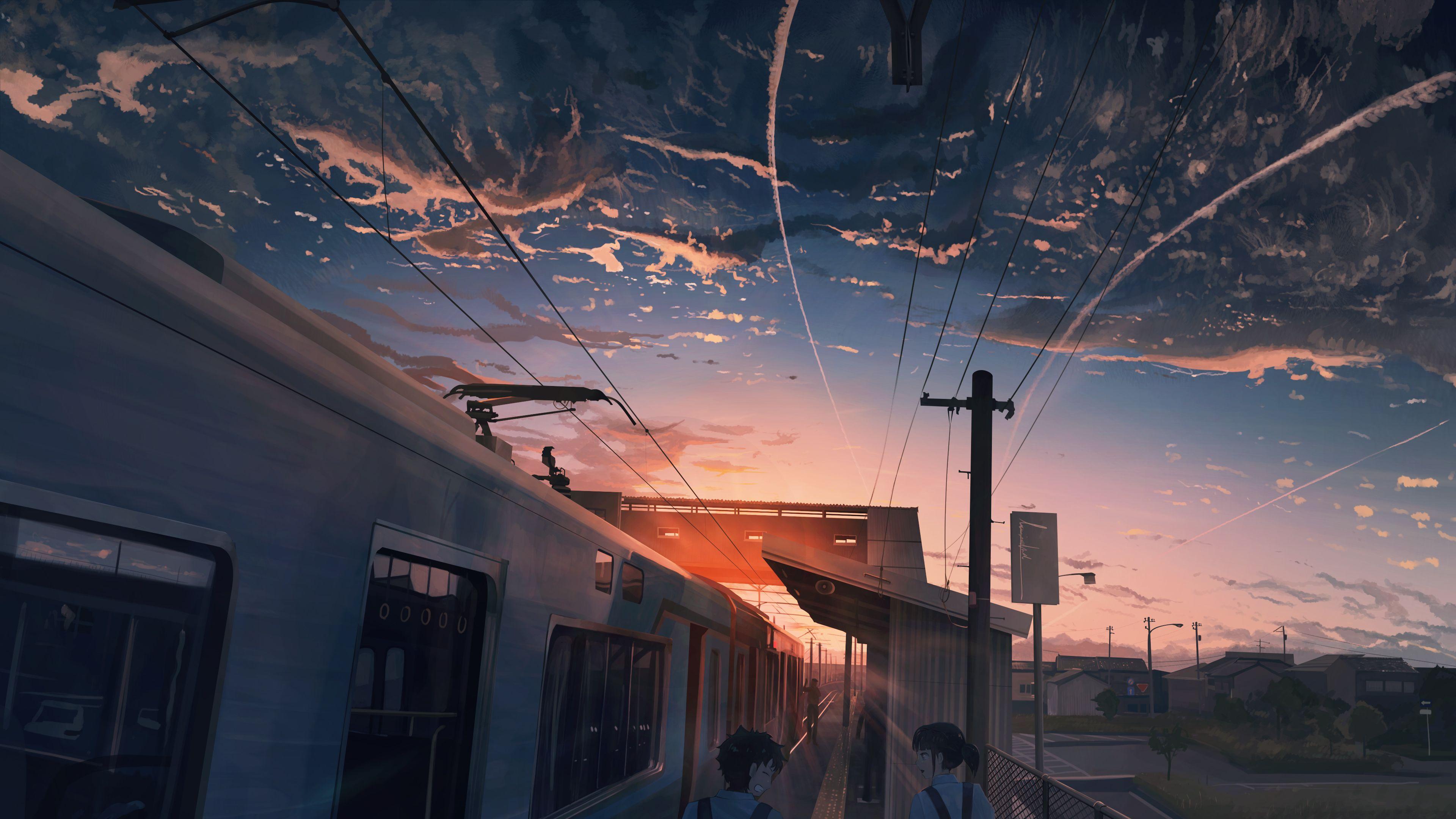 天空 夕阳 电车 动漫人物风景4k壁纸3840x2160_彼岸图网.jpg